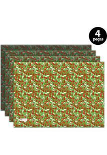 Jogo Americano Mdecore Natal Boneco De Neve 40X28 Cm Verde 4Pçs