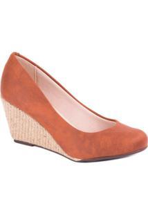 Sapato Anabela Espadrille Pinhão - Moleca - Feminino-Marrom Escuro