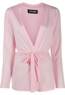 Styland Cardigan Com Amarração Na Cintura - Rosa