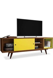 Rack Para Tv 47 Polegadas, Com Porta Deslizante E Prateleira, Rustik Carvalho Com Amarelo, Vintage 50 Ii