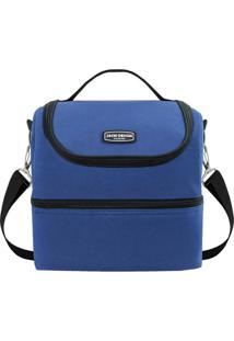Bolsa Térmica Com Compartimentos- Azul & Preta- 27X2Jacki Design