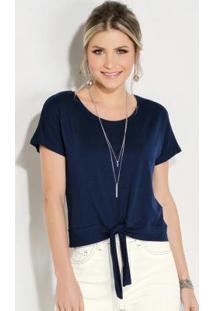 Blusa Quintess Azul Com Amarração Frontal