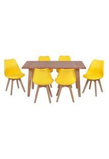 Conjunto Mesa De Jantar Em Madeira 150X80 Vértice + 6 Cadeiras Leda - Amarelo
