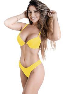Conjunto De Calcinha E Sutiã Sigh Nadador Amarelo