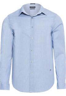 Camisa Masculina Traveller Stretch Listrada - Azul