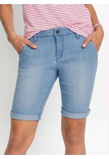 Bermuda Jeans Básica Azul Médio