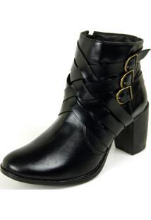 Bota Ankle Boot Dhatz Não Possui Cadarço Com Fivela Preto