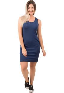 Vestido Bella Fiore Modas Curto Liso Com Bolso Azul Marinho