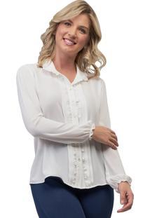 Camisa Mx Fashion Crepe Frufru Violetta Off White