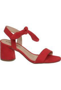 Sandália Vermelha De Amarrar Salto Redondo