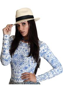 Blusa Ficalinda Manga Longa Estampa Azulejo Português Azul Decote Canoa