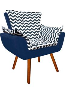 Poltrona Decorativa Opala Suede Composê Estampado Zig Zag Azul D02 E Suede Azul Marinho - D'Rossi