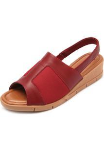 Sandália Couro Usaflex Soft Slim Vermelha