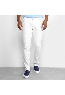 Calça Slim Calvin Klein Color Sarja Masculina - Masculino-Branco