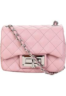 Bolsa Santa Lolla Mini Bag Matelassê Alça Corrente Feminina - Feminino-Rosa