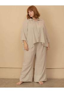 Pijama Algodão Bella Plus Size Cinza-G Cinza