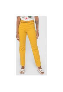 Calça Sarja Cantão Reta Color Amarela