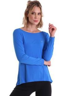 Blusa Líquido Manga Longa Feminina - Feminino-Azul Claro