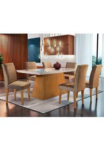 Conjunto De Mesa Luna Com 6 Cadeiras Grécia-Rufato - Animalle Chocolate / Off White / Imbuia / Serig Off White