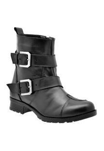 Bota Casual Atron Shoes Couro Feminina Zíper Dia A Dia Look Café 33 Preto