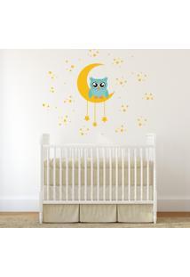 Adesivo Parede Infantil Quartinhos Coruja Na Lua Colorido