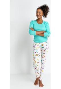 Conjunto De Pijama Acuo Longo Formiguinha Feminino - Feminino-Branco