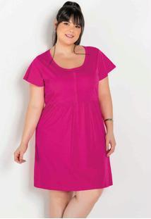 Vestido Pink Com Botões E Franzidos Plus Size