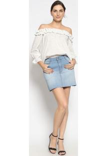 Blusa Ciganinha Listrada Com Babado- Off White & Azul Clenna