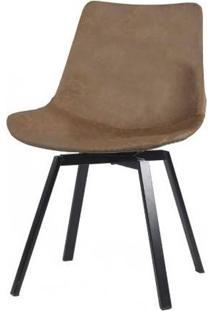 Cadeira Nath Courino Marrom Base Preto 80Cm - 62866 - Sun House