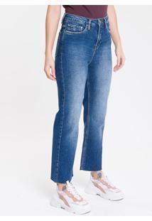Calça Jeans Feminina Five Pockets Reta Cintura Alta Azul Marinho Calvin Klein - 34