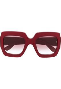 Gucci Eyewear Square-Frame Logo-Embellished Sunglasses - Vermelho