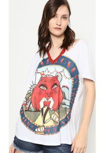 Camiseta Maça Do Amor Com Vazados - Branca & Vermelha