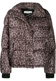 Golden Goose Leopard Print Puffer Jacket - Marrom