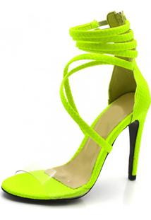 Sandália Salto Fino Gisela Costa Amarelo Neon