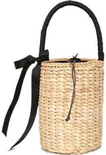 Bolsa Bucket De Mão Em Palha Trançada Com Laço - Feminino-Bege
