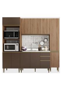 Cozinha 4 Peças C/ Paneleiro Madeira/Oxi Be Mobiliário Marrom/Bege