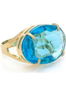 Anel Cristallo Cristal Oval - Feminino-Azul
