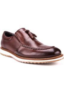 Sapato Masculino Com Barbicachos Couro Marrom