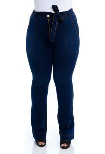 Calça Jeans Plus Size Cambos Flare Tradicional Com Cinto