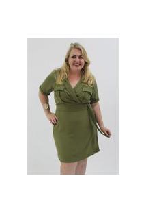 Vestido Utilitário Plus Size Verde Vestido Utilitário Plus Size Verde P Kaue Plus Size