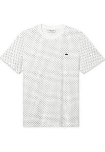 Camiseta Lacoste Masculina - Masculino-Branco+Azul