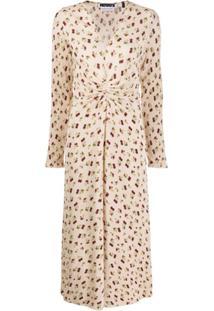 Rotate Vestido Gola V Com Estampa Floral E Franzido - Neutro