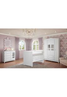 Dormitório Guarda Roupa Ariel 4 Portas Fraldário Berço Gabi Branco Carolina Baby - Tricae