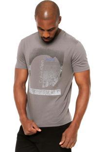 Camiseta Manga Curta Calvin Klein Jeans Estampa Cinza