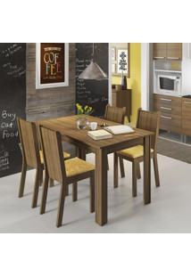 Conjunto De Mesa Com 4 Cadeiras Rosie Rustic E Palha