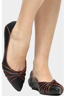 Sapatilha Couro Shoestock Nó Bicolor Feminina - Feminino-Preto