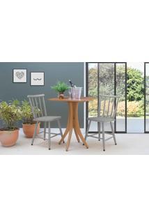 Mesa Com 2 Cadeiras Quadrada Juliette - Jatobá E Cinza Concreto