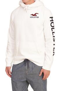 Blusa De Moletom Fechada Hollister Clássica Branca