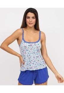 Blusa Floral Com Renda- Azul Claro & Azul Marinho- Iinjoy