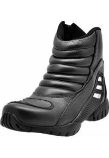 Bota Motoqueiro Cano Curto Em Couro Atron Shoes Preto